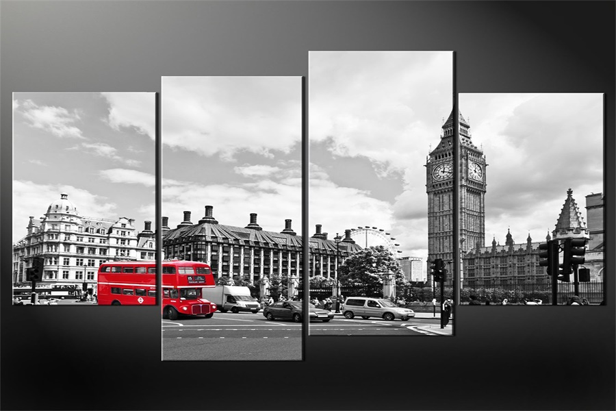 Custom-Red-Bus-Wallpaper-London-Old-View-Wall-Stickers-Big-Ben-Poster-Red-Bus-Sticker-Mural-PIC-MCH055240 Black White Red City Wallpaper 23+