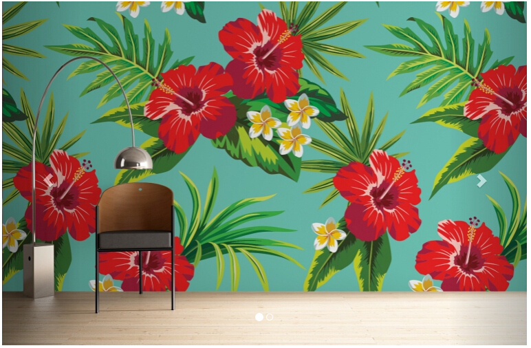 Custom-papel-DE-parede-floral-Turquoise-Hibiscus-Print-is-used-in-the-the-bedroom-TV-wall-PIC-MCH055190 Hibiscus Wallpaper For Walls 16+