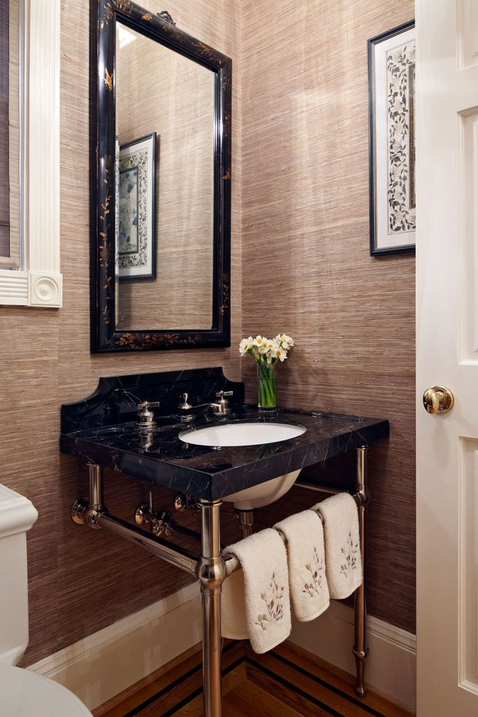 Powder-room-textured-brown-wallpaper-PIC-MCH096051-683x1024 Flamingo Wallpaper Bathroom 14+