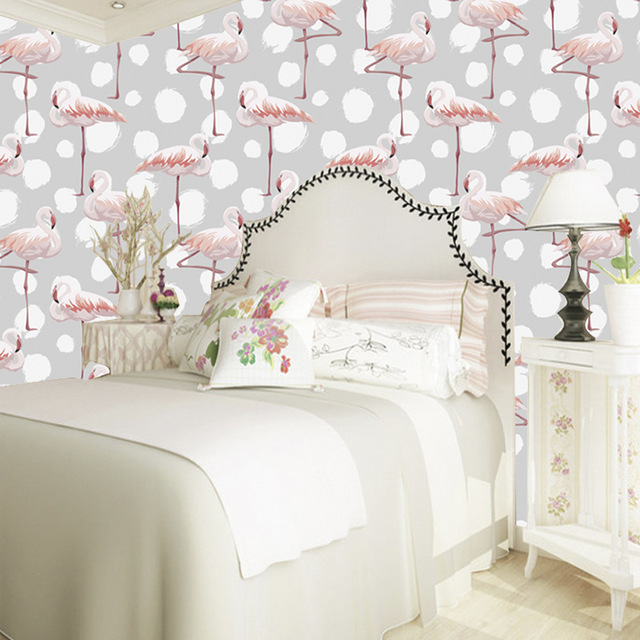 bed-room-wallpaper-warm-grey-and-elegant-flamingo-mural-wallpaper-decoration-for-girl-s-room-lady.j-PIC-MCH045373 Flamingo Wallpaper For Walls 14+