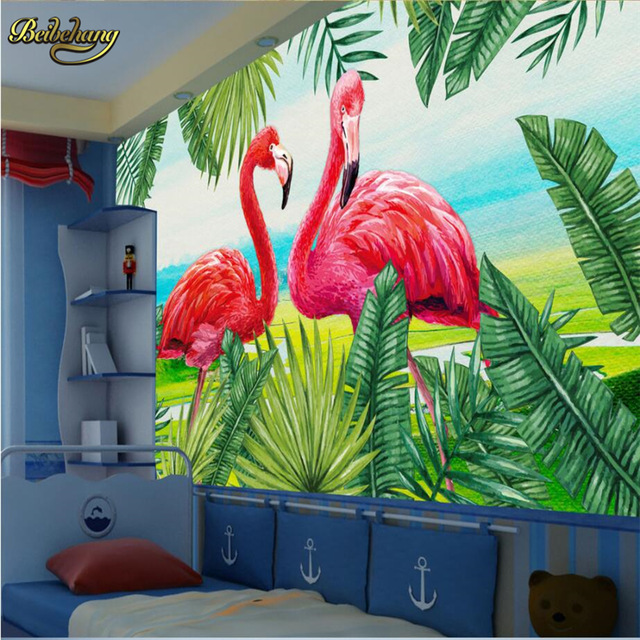 beibehang-Scandinavian-hand-painted-plant-flamingo-Photo-Wallpaper-D-Ceiling-Mural-Living-Room-Res-PIC-MCH045480 Flamingo Wallpaper For Walls 14+