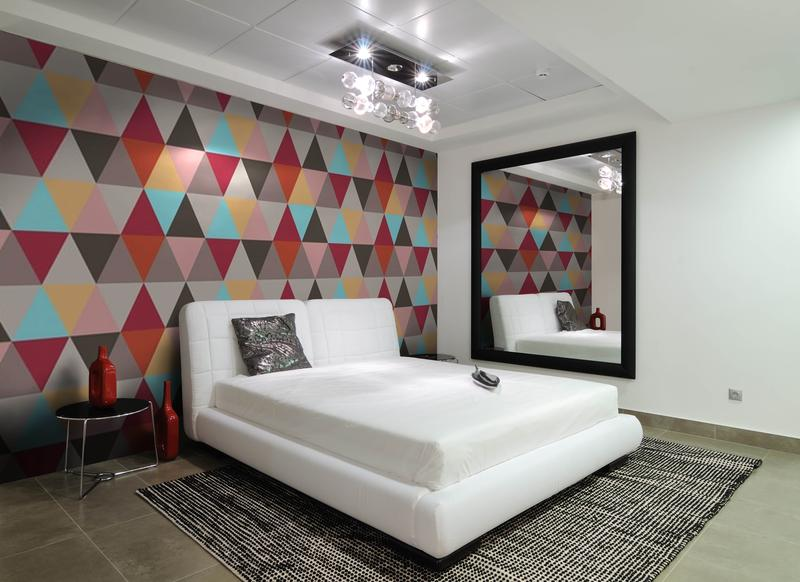 contemporary-bedroom-with-geomteric-wallpaper-PIC-MCH053788 Home Wallpapers Images 29+