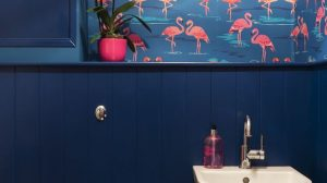 Flamingo Wallpaper Bathroom 14+