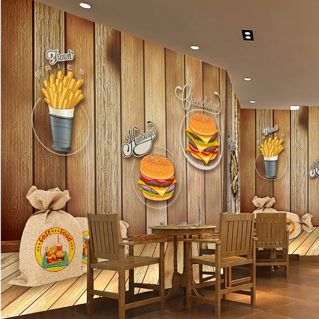 Custom-photo-Silk-D-wallpaper-for-walls-D-Fast-Food-Restaurant-Dinning-hall-breakroom-wall.jpg-PIC-MCH055201 Restaurant Wallpaper 3d 45+