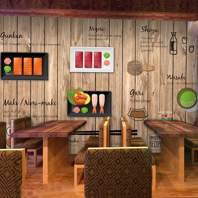 Custom-photo-wallpaper-D-cartoon-hand-painted-Japanese-Restaurant-mural-wallpaper-Noodle-sushi-sho-PIC-MCH055206 Restaurant Wallpaper 3d 45+