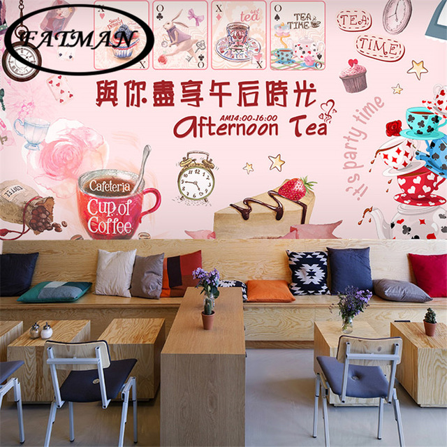 Custom-photo-wallpaper-D-stereo-dessert-pattern-wallpaper-mural-bakery-bar-teahouse-Cafe-Restauran-PIC-MCH055214 Restaurant Wallpaper 3d 45+