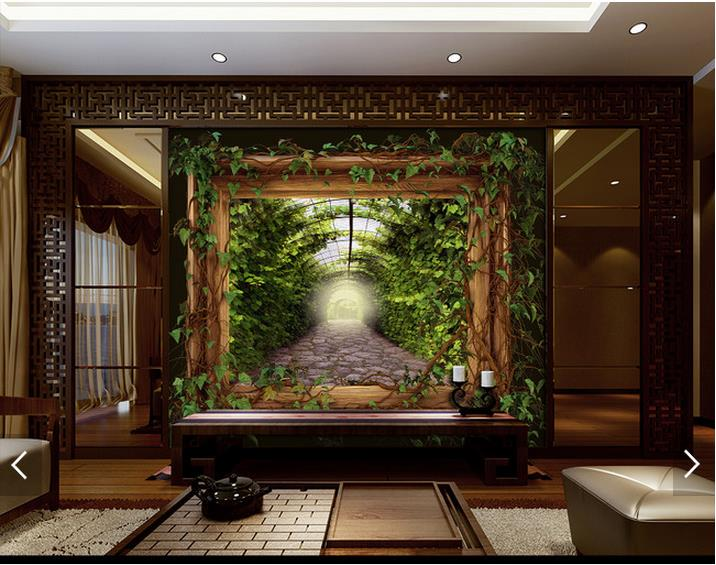 Customized-d-photo-wallpaper-d-wall-murals-wallpaper-Vine-tree-lined-trail-background-wall-paper-PIC-MCH055273 Mural Wallpaper Vine 46+