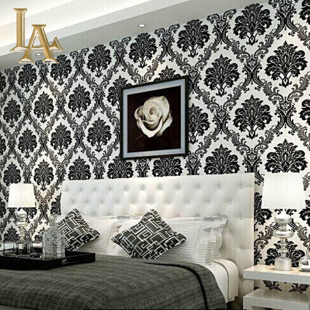 European-Embossed-Flocking-Black-Damask-Wallpaper-D-Living-room-Bedroom-Luxury-Home-Decor-Modern-W-PIC-MCH062432 Damask Wallpaper Bedroom 28+