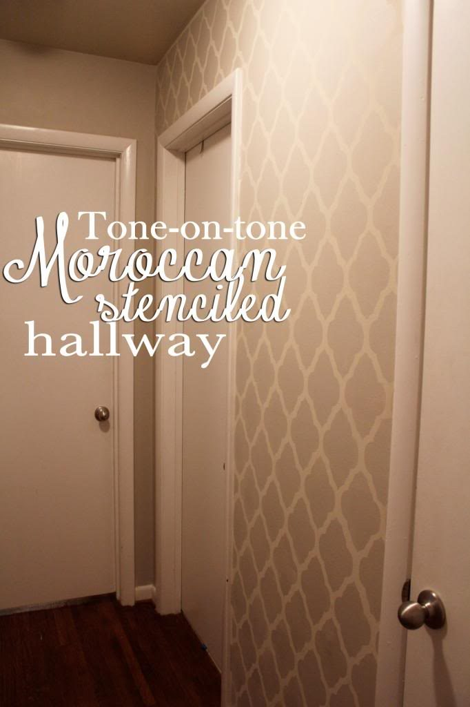 decorate-a-hallway-moroccan-stenciled-tone-on-tone-painted-hall-all-precious-and-pleasant-via-remod-PIC-MCH057318-682x1024 Half Wallpaper Half Paint Hallway 7+