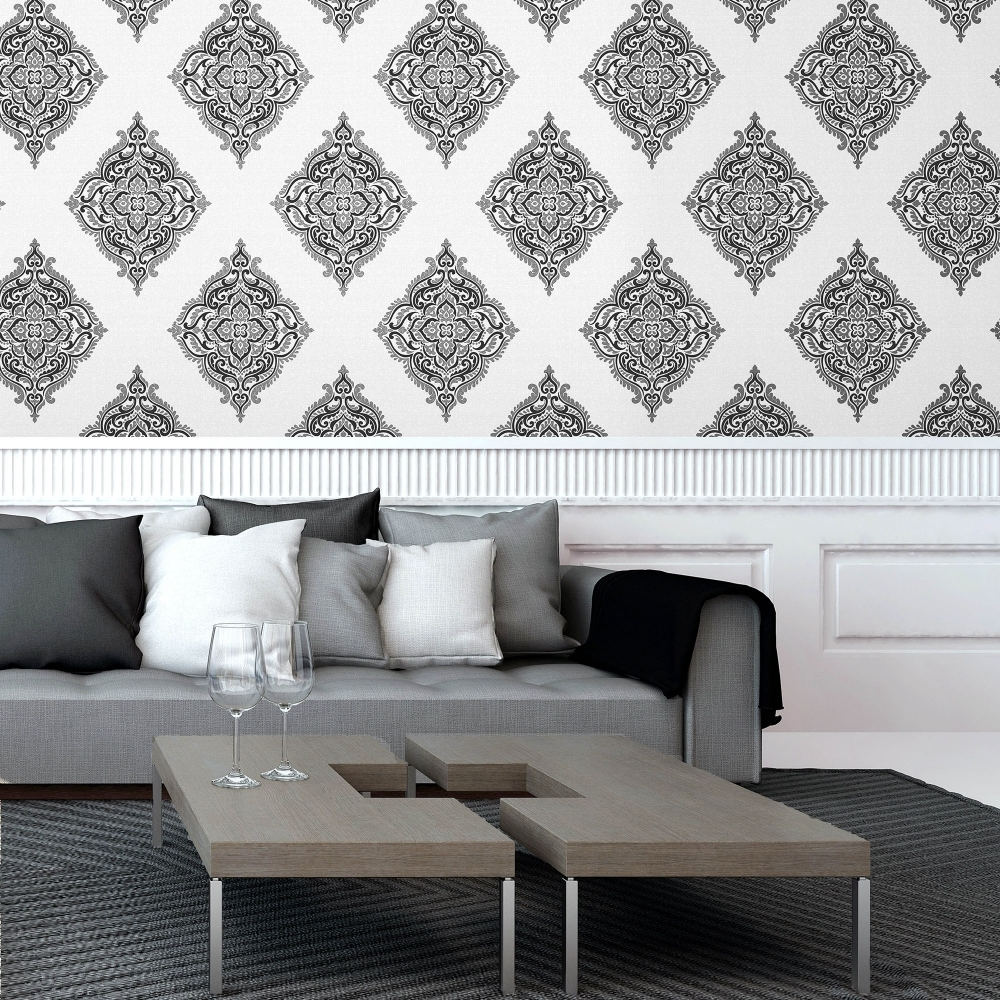 fine-decor-glamour-medallion-damask-wallpaper-white-silver-black-fd-p-image-PIC-MCH063908 Damask Wallpaper Silver 9+