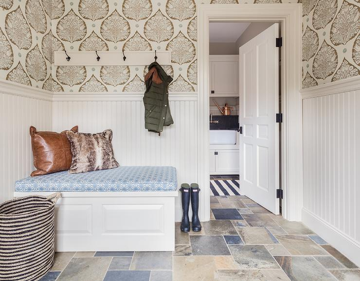 mudroom-wainscoted-corner-bench-beadboard-wainscoting-PIC-MCH087957 Half Wallpaper Half Paint Bedroom 9+