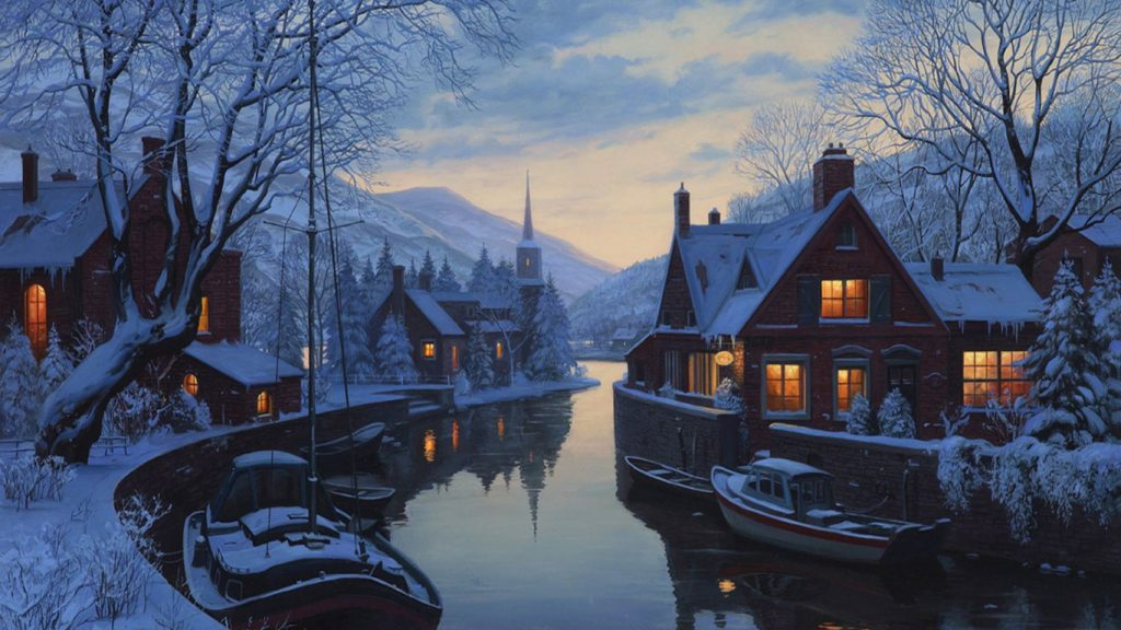 winter-night-light-boats-trees-houses-beautiful-snow-river-wallpaper-tablet-PIC-MCH0116910-1024x576 Happy Winter Full Hd Wallpaper 43+