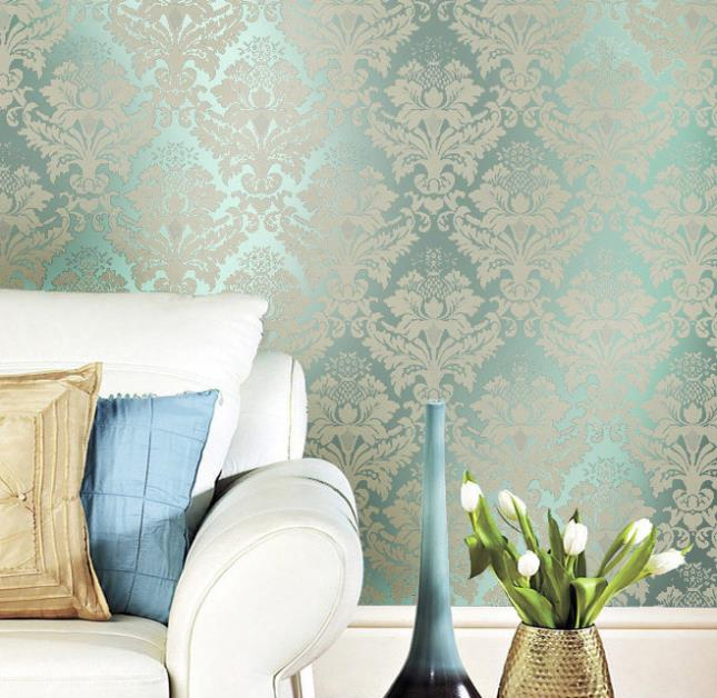Green-Metallic-Pearly-Damask-Wall-paper-Glitter-Damascus-Wallpaper-Embossed-Textured-Mirror-Feature-PIC-MCH069928 Mirror Wallpaper For Walls 14+