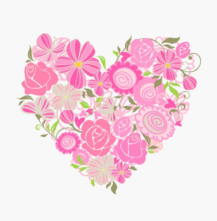 Pink-Floral-Heart-Vector-Graphic-PIC-MCH095184 Love Point Wallpapers Flower Heart 23+