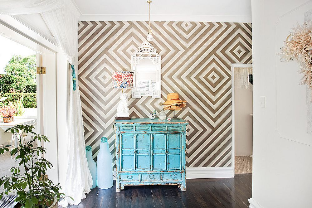 eclectic-with-vintage-credenza-and-geometric-wallpaper-PIC-MCH061721 Is Wallpaper Out Of Style 36+