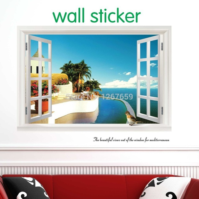 new-fake-window-wallpaper-decorative-wall-stickers-large-home-decoration-Summer-style-free-shi-PIC-MCH010181 Is Wallpaper Out Of Style 36+