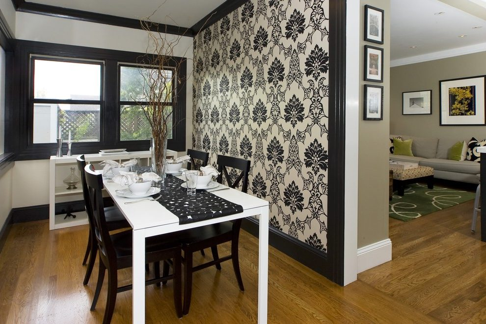 san-francisco-damask-wallpaper-lowes-with-porcelain-dining-bowls-room-contemporary-and-accent-wall-PIC-MCH0100321 Wood Wallpaper Lowes 37+