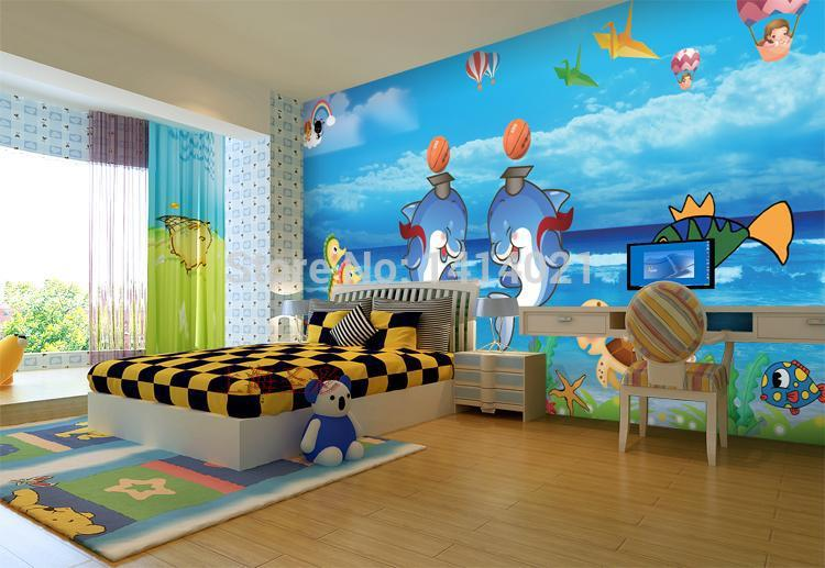 Sitting-room-kids-room-TV-setting-wall-bedroom-wallpaper-D-photo-wallpaper-lover-dolphins-papel-de-PIC-MCH0101905 Kid Wallpaper For Walls 23+