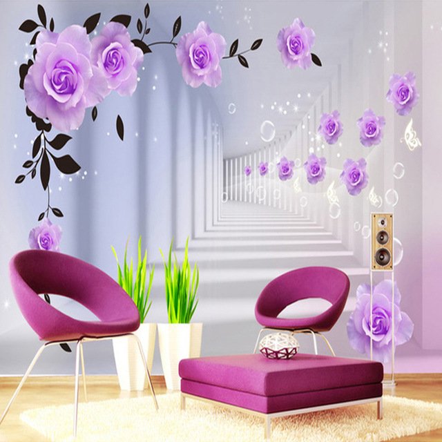 Creative-Art-Texture-Wallpaper-Indoor-Flower-Photo-Mural-Living-Room-D-Stereo-TV-Background-Home-D-PIC-MCH054900 Lilac Wallpaper Living Room 16+