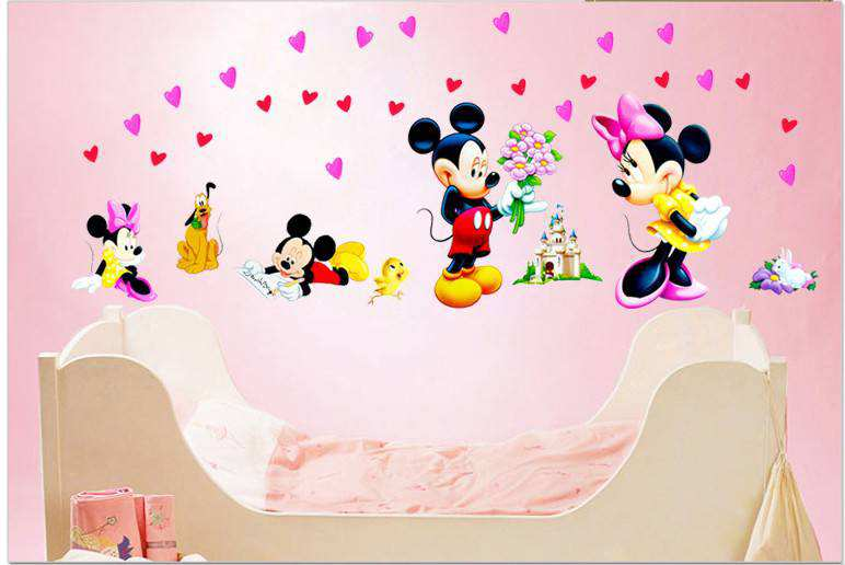 Cute-cartoon-mickey-minnie-children-room-decoration-wall-stickers-diy-poster-mirror-wallpaper-mural-PIC-MCH055390 Cute Minnie And Mickey Mouse Wallpaper 26+