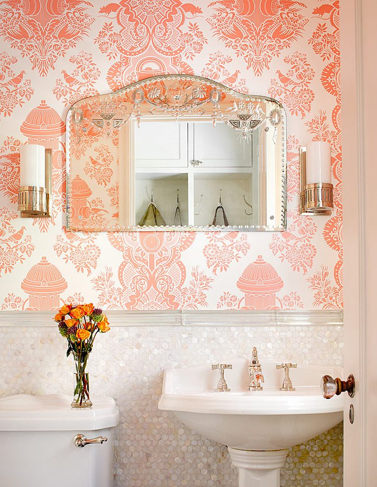 Damask-bathroom-wallpaper-powder-room-traditional-with-pearlescent-tile-etched-glass-etched-glass-PIC-MCH056245 Pale Blue And Silver Wallpaper 11+