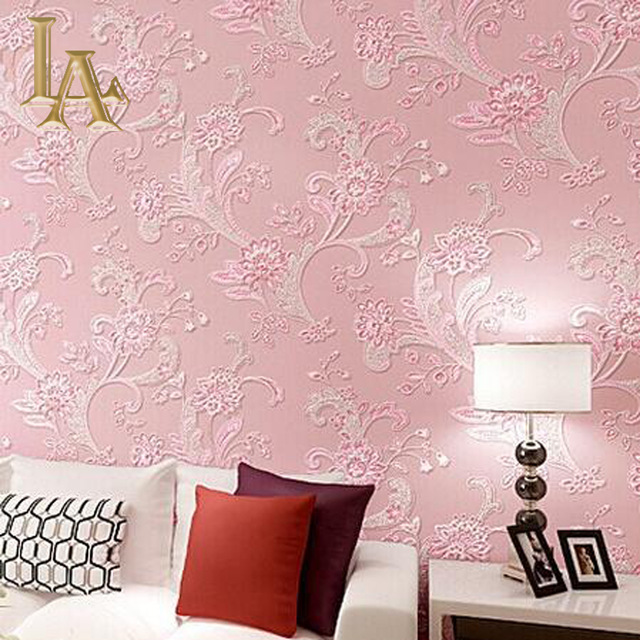 European-Pastoral-D-Flower-Wallpaper-Roll-Pink-Floral-For-Living ...