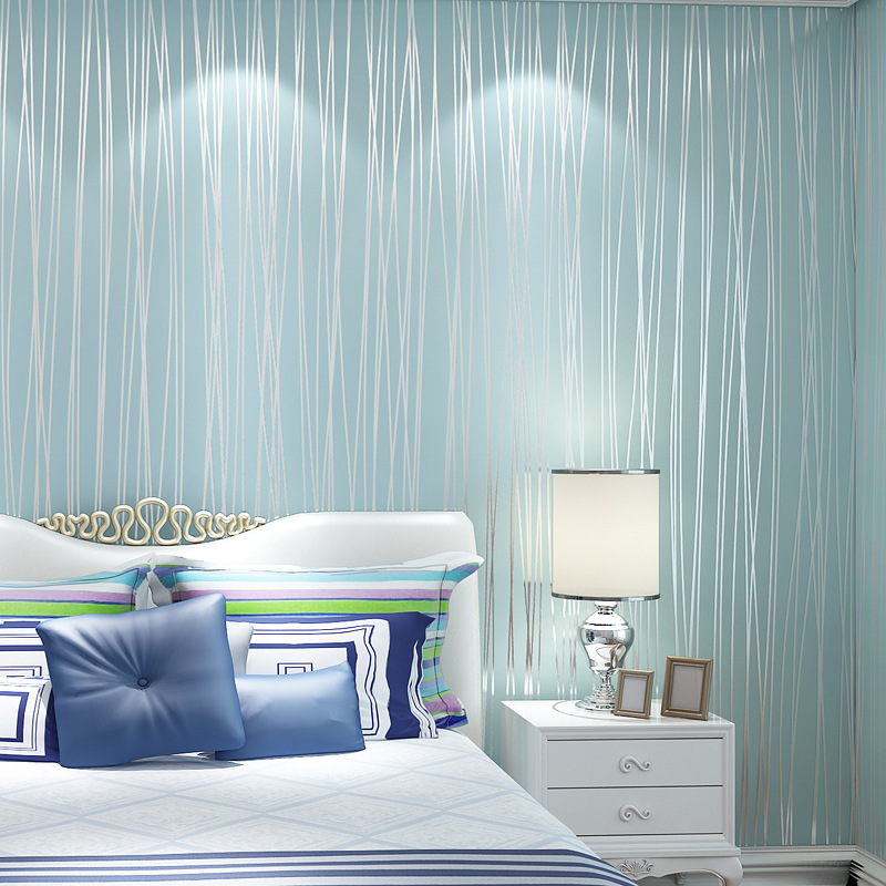 Special-sale-promotion-non-woven-wallpaper-bedroom-simple-striped-wallpaper-in-the-living-room-wall-PIC-MCH0103325 Blue And Silver Striped Wallpaper 12+