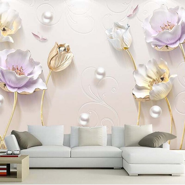 Three-dimensional-lotus-wallpaper-living-room-d-wallpaper-designs-wall-paper-European-flower-pot-H-PIC-MCH0107335 Lilac Wallpaper Living Room 16+