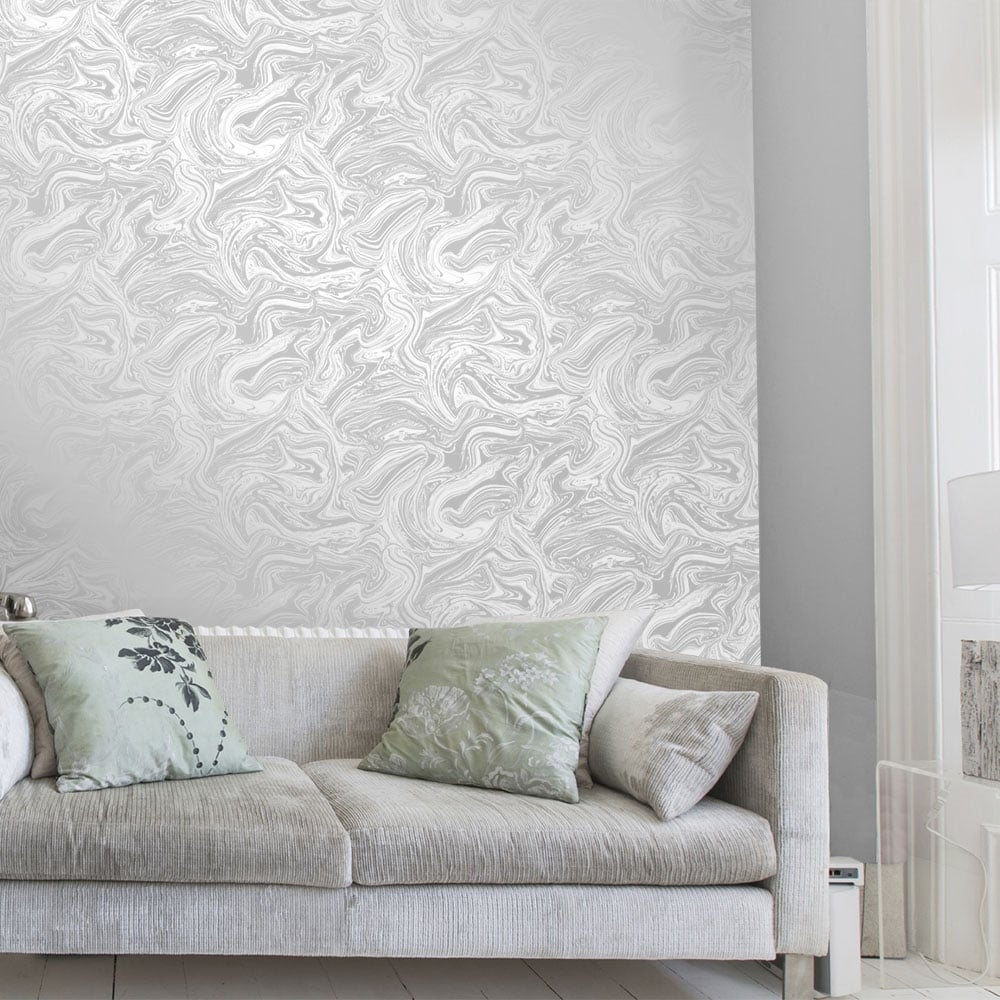 henderson-interiors-carrara-marble-metallic-wallpaper-soft-grey-silver-ilw-p-image-PIC-MCH072857 Wallpaper Grey Silver 15+