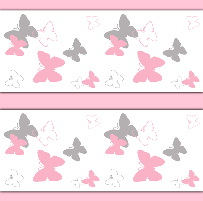 Pink Grey Butterfly Wallpaper Border PIC MCH095083