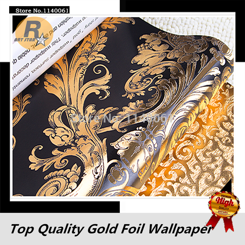 Luxurious-Damascus-Pattern-Black-and-Golden-Color-Wallpaper-Roll-For-Living-Room-Bedroom-Gold-Foil-PIC-MCH083849 Black Gold Wallpaper Living Room 25+