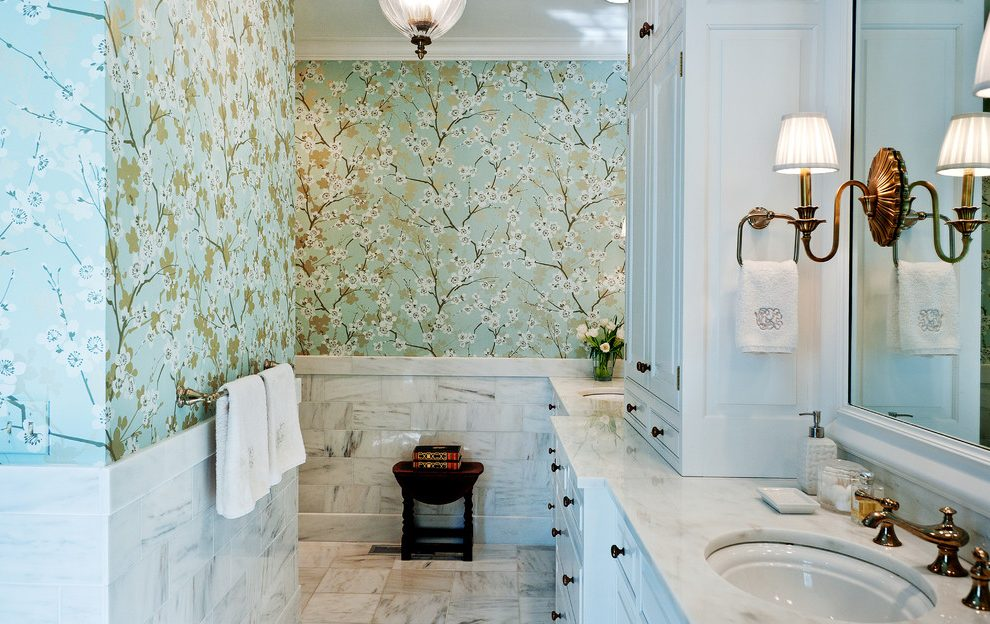 Traditional-bathroom-wallpaper-bathroom-traditional-with-ceiling-light-marble-tile-floor-cherry-blo-PIC-MCH0108017 Thibaut Wallpaper Grcloth 18+