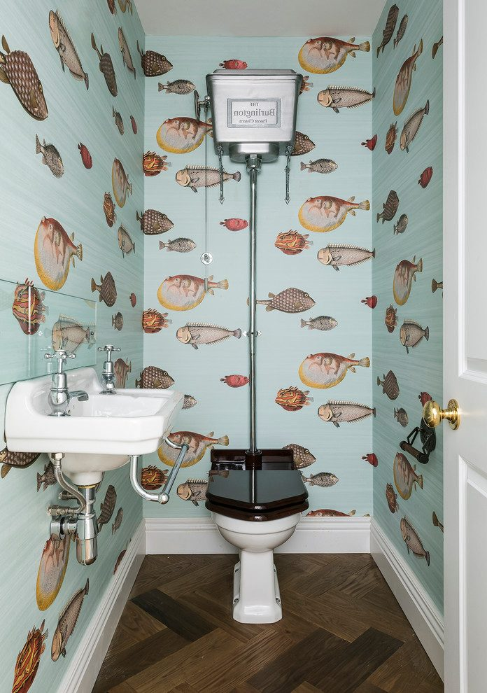 fish-wallpaper-powder-room-traditional-with-victorian-door-bathroom-vanities-with-tops-PIC-MCH063997 Thibaut Wallpaper Grcloth 18+
