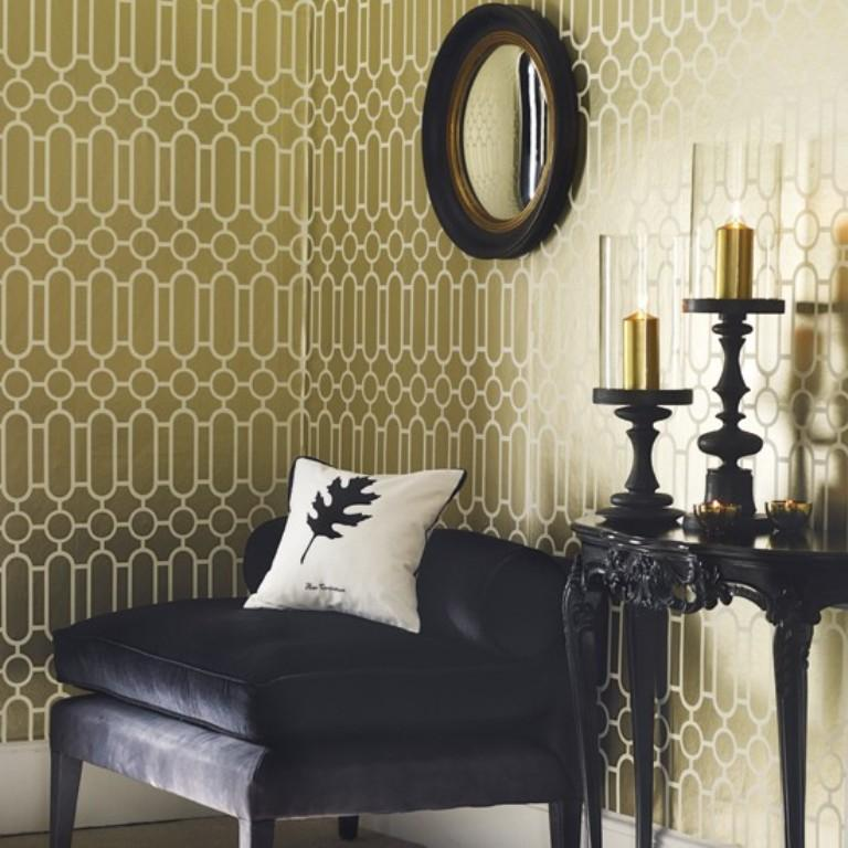 living-room-with-geometric-wallpaper-PIC-MCH082663 Black Gold Wallpaper Living Room 25+