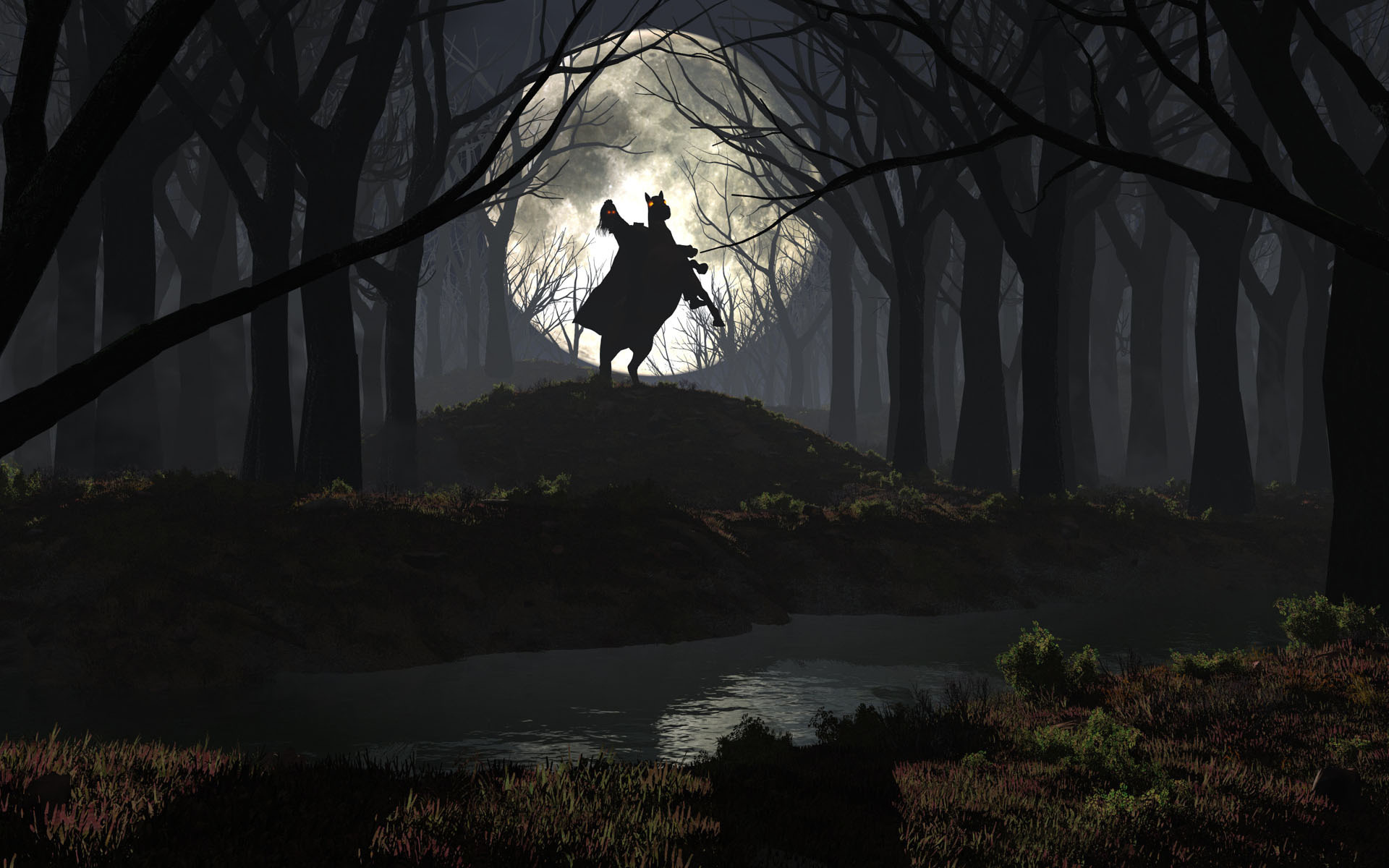 Rider In The Spooky Forest Wallpaper PIC MCH098882