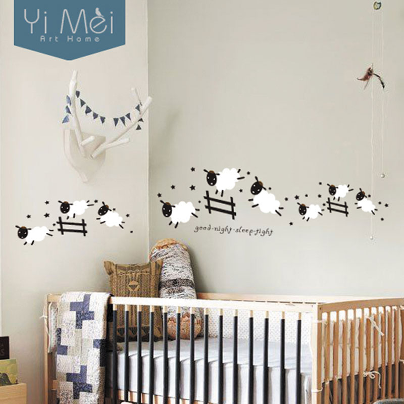 Cartoon-Cute-Jumping-Sheep-Fence-Wallpaper-Removable-Wall-Stickers-Art-Decal-for-Baby-Kids-Girl-Liv-PIC-MCH051335 Sheep Wallpaper For Walls 12+