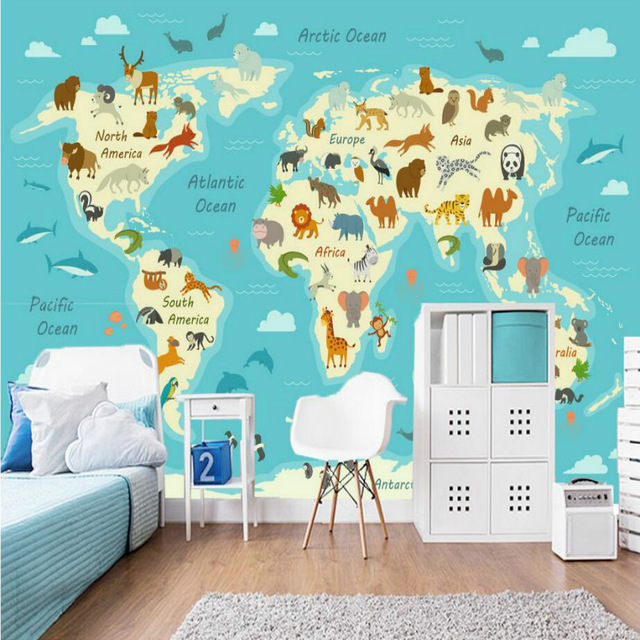 Cartoon-Hand-Painted-Around-World-Animal-Map-Wallpaper-for-Children-s-Room-Decoration-Home-Improvem-PIC-MCH051353 Around The World Wallpaper 27+
