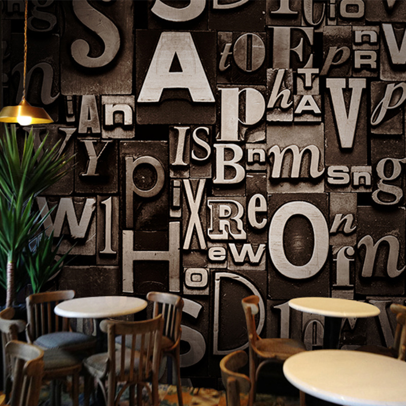 D Embossed English Words Textured Letters Wallpaper Vintage Fashion