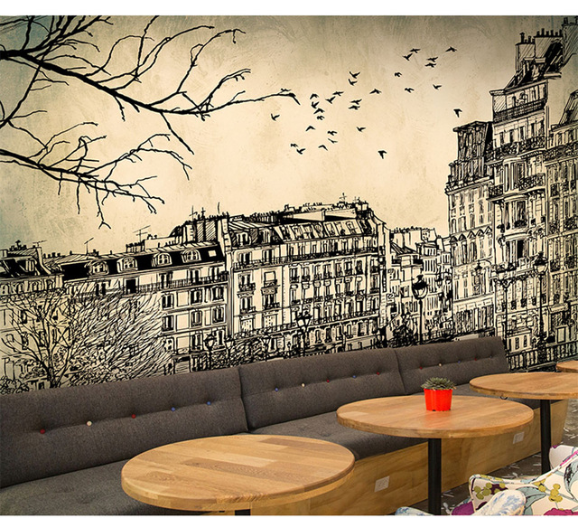 Europe-Architecture-Sketch-City-Landscape-Building-Wallpaper-Mural-Rolls-for-Wall-Covering-Living-R-PIC-MCH062428 Cafe Wallpaper Designs 18+