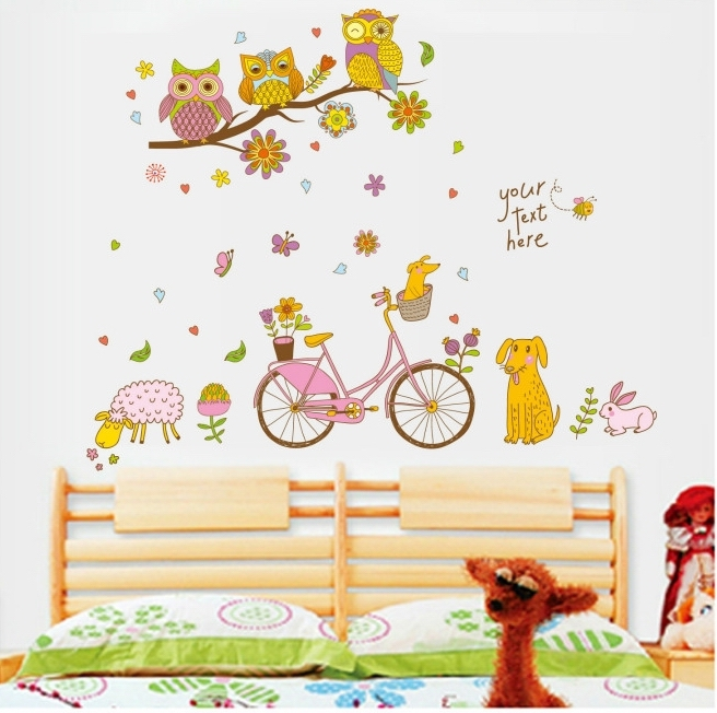Happy-Candy-Color-Owl-Tree-Bicycle-Wall-Stickers-Dog-Sheep-Bike-Vinyl-Wallpapers-Decal-Kids-Girls-PIC-MCH070843 Sheep Wallpaper For Walls 12+