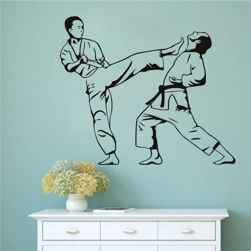 Karate-Kick-Removable-Decals-Wallpaper-Martial-Art-Wall-Decal-Sport-For-Boys-Rooms-Nontoxic-Pvc-Mur-PIC-MCH079470 Non Toxic Wallpaper 26+