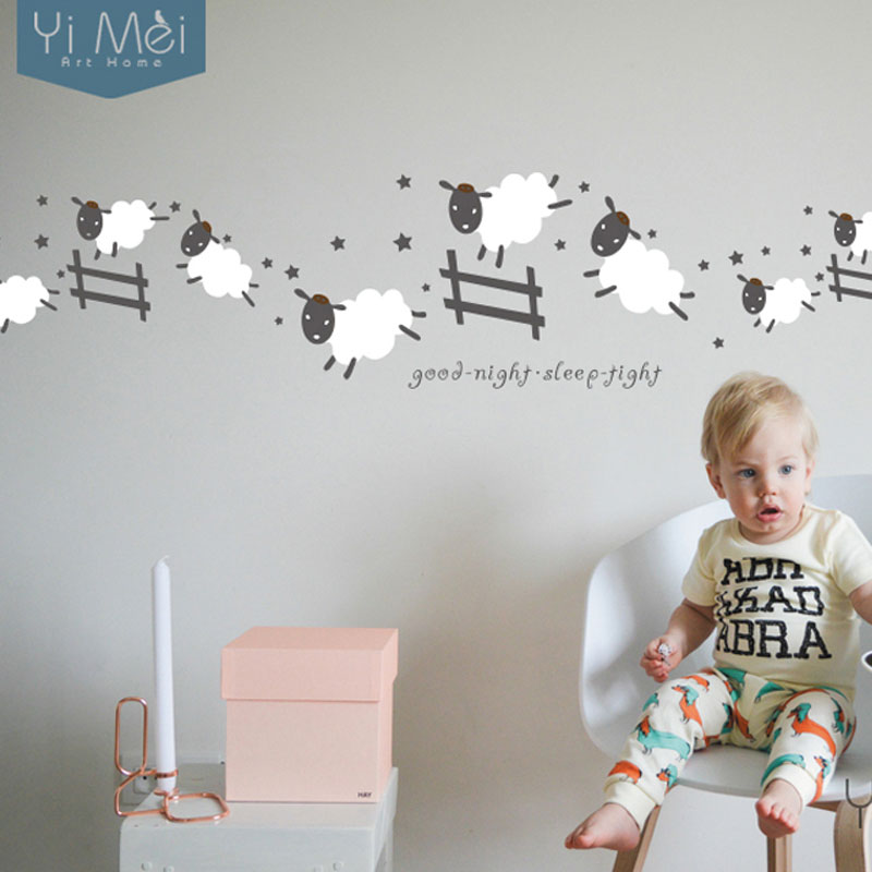 Kawaii-Cute-Jumping-Sheep-Wall-Stickers-Home-Decor-DIY-Vinyl-Art-Decal-Baby-Fence-Kids-Girl-PIC-MCH079522 Sheep Wallpaper For Walls 12+