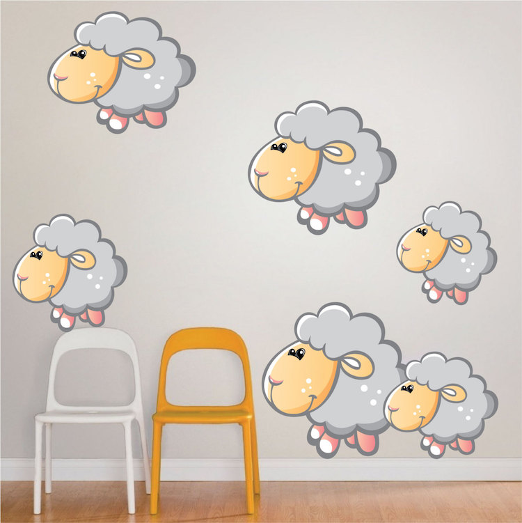 Kids-Bedroom-Sheep-Wall-Decal-d-PIC-MCH080008 Sheep Wallpaper For Walls 12+