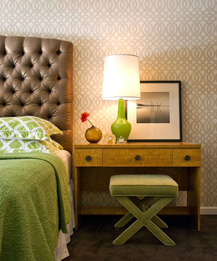 new-york-quilt-applique-patterns-with-chevron-wallpaper-bedroom-contemporary-and-bedside-table-sued-PIC-MCH089900 Suede Wallpaper Sydney 16+