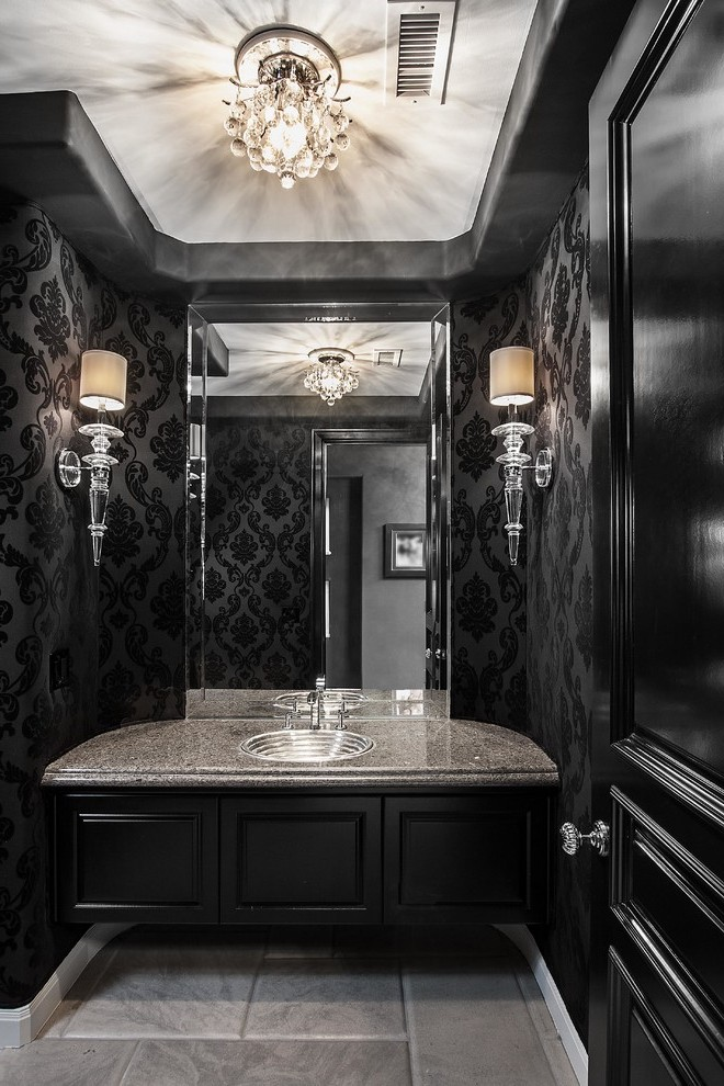orange-county-turquoise-and-black-wallpaper-with-metal-cabinet-drawer-knobs-powder-room-contemporar-PIC-MCH092387 Suede Wallpaper Sydney 16+