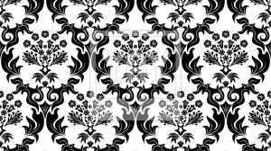 Damask Wallpaper Border Black And White 12+