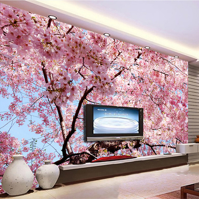 Custom-Any-Size-D-Wall-Mural-Romantic-Beautiful-Cherry-Blossom-Landscape-Photo-Mural-Wallpaper-Liv-PIC-MCH055149 Blossom Wallpaper Mural 14+