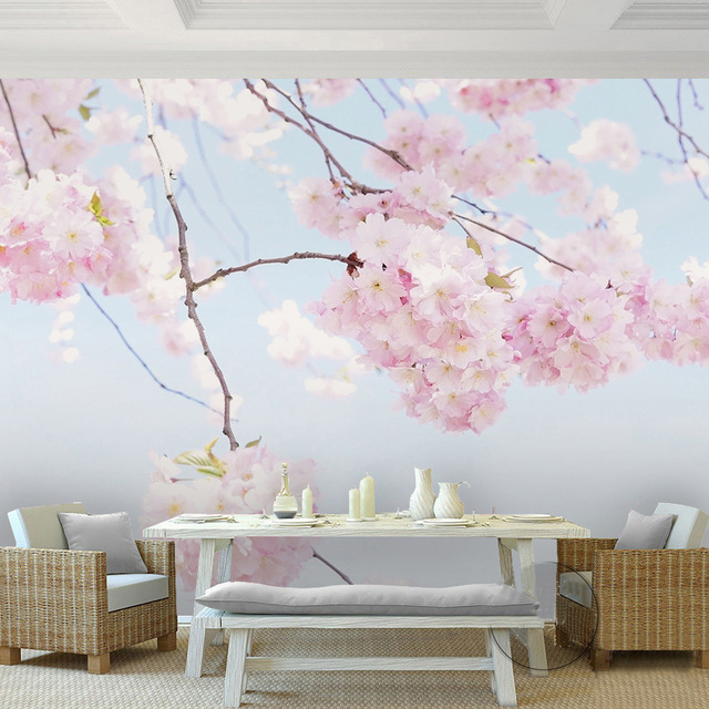 Custom-Photo-Wallpaper-Cherry-Blossom-Beautiful-Floral-Wall-Mural-Backdrop-Living-Room-D-Room-Land-PIC-MCH055219 Blossom Wallpaper Mural 14+