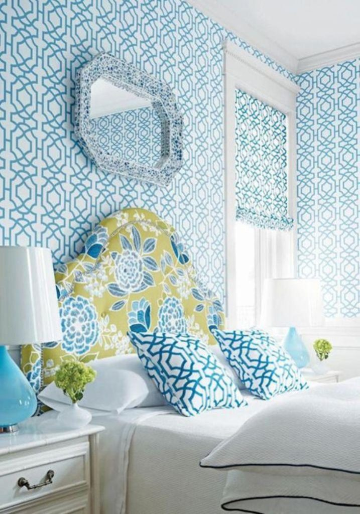 ecstatic-bedroom-with-blue-geomtric-wallpaper-PIC-MCH061728-717x1024 Aqua Wallpaper For Bedroom 17+