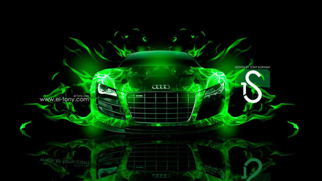 Audi R Green Fire Car Abstract HD Wallpapers